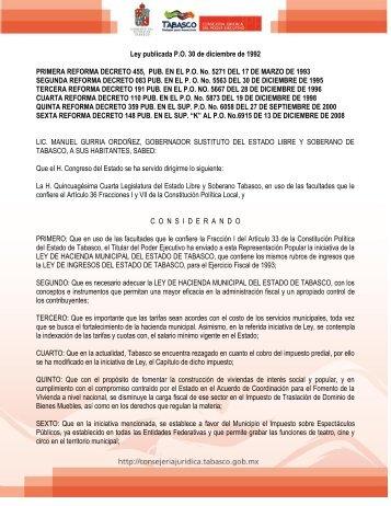 ley de hacienda municipal del estado de tabasco