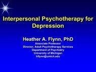 Interpersonal Psychotherapy for Depression - University of Michigan ...