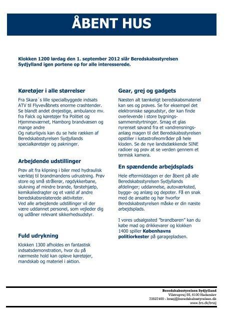 Program for åbent hus-arrangementet - Beredskabsstyrelsen