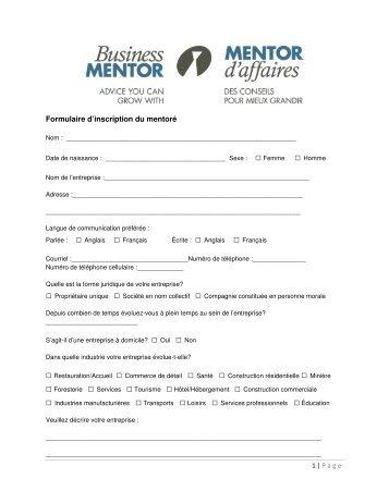 Formulaire d'inscription du mentoré