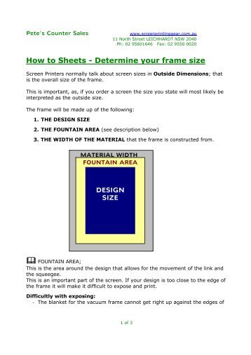 How to Sheets - Determine your frame size - Pete\'s Counter Sales