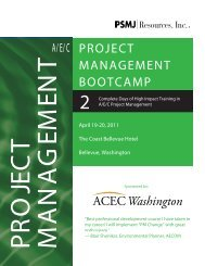 A/E/C PROJECT MANAGEMENT BOOTCAMP - ACEC of Washington
