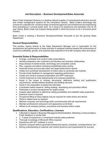 Associate Sales Representative Job Description