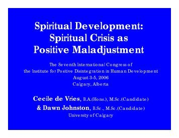 Spiritual Development - Kazimierz Dabrowski's Theory of Positive ...