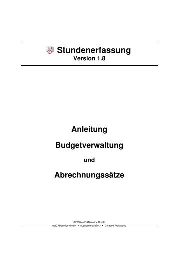 Anleitung Budgetverwaltung - netCADservice GmbH