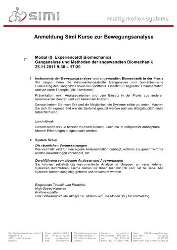 Anmeldung Simi AKT Kurse_deu - SIMI Reality Motion Systems GmbH