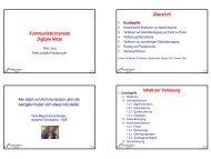 Kommunikationsnetze Digitale Netze Übersicht Inhalt der Vorlesung