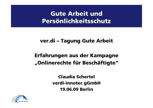 Onlinerechte für Beschäftigte - Gute Arbeit - ver.di Tagung