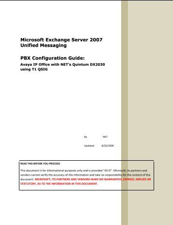 Microsoft Exchange Server 2007 Unified Messaging PBX ...