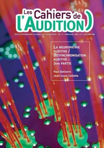 la neuropathie auditive / désynchronisation auditive - Collège ...