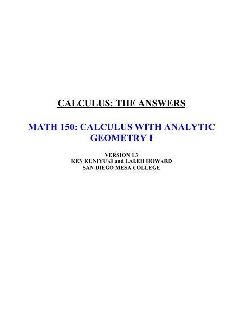 CALCULUS: THE ANSWERS MATH 150     - Kkuniyuk com