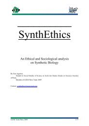 An Ethical and Sociological analysis on Synthetic Biology - 2009 iGEM