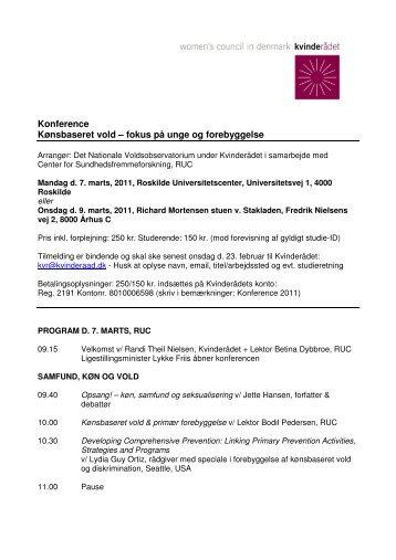 Konference Kønsbaseret vold – fokus på unge og ... - Kvinderådet