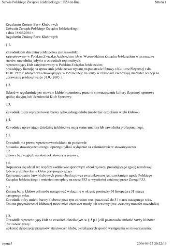 Zmiany barw klubowych - regulamin - Małopolski Związek Jeździecki
