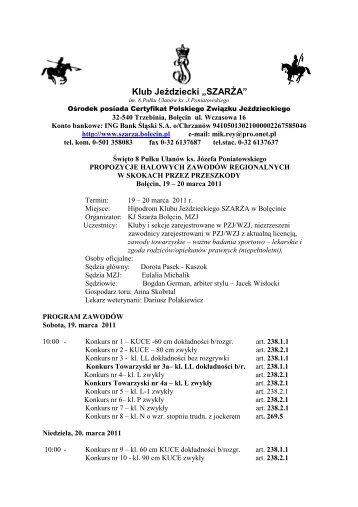 """Klub Jeździecki """"SZARŻA"""" - Małopolski Związek Jeździecki"""