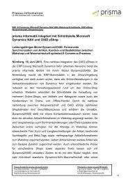 prisma informatik integriert mit Schnittstelle Microsoft Dynamics NAV ...