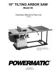 Powermatic Model 66 Table Saw Manual pdf - Woodworkers Guild