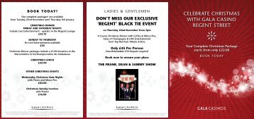 CELEBRATE CHRISTMAS WITH GALA CASINO REGENT STREET