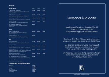 Seasonal Ŕ la carte
