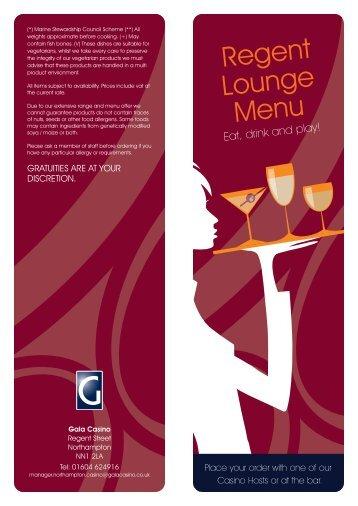 Regent Lounge Menu