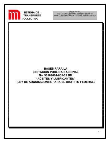 ACEITES Y LUBRICANTES - Metro - Gobierno del Distrito Federal