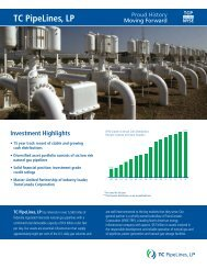 View Investor Fact Sheet - TC PipeLines, LP