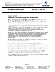 Presseinformasjon Dato: 25.10.07 - BluePlanet AS