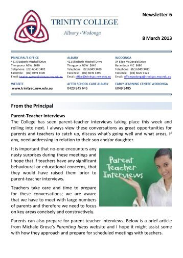 Newsletter 6 From the Principal - Trinity College