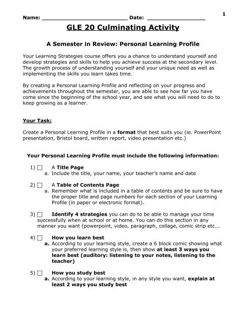 Gle20 Culminating Assignment Pdf