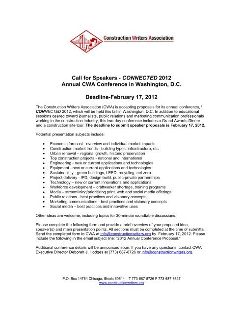 Call for Speakers - CONNECTED 2012 Annual CWA Conference in