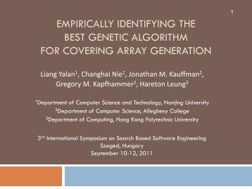 Empirically Identifying the Best Genetic Algorithm for ... - SSBSE