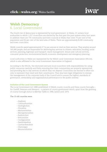Welsh Democracy 6. Local Government - Click on Wales