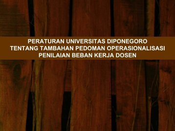 Pedoman Tambahan Beban Kerja Dosen - Fakultas Teknik UNDIP