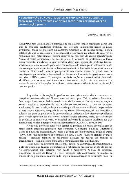 A CONSOLIDAÇÃO DE NOVOS PARADIGMAS PARA A PRÁTiCA ...
