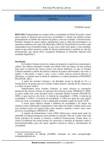as marcas da homoafetividade em the blind man - Revista Mundo ...