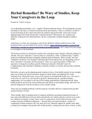 Herbal Remedies? Be Wary of Studies, Keep Your Caregivers in the ...
