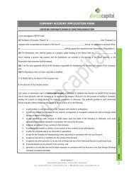 COMPANY ACCOUNT APPLICATION FORM