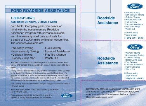 Ford Roadside Assistance Phone Number >> Ford Taurus 2008 Roadside Assistance Card Printing 1 Pdf