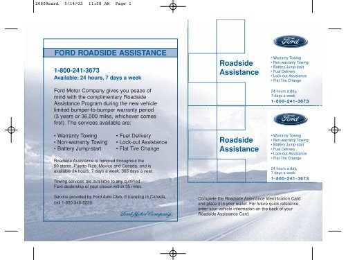 Ford Roadside Assistance Phone Number >> Ford Mustang 2004 Roadside Assistance Card Printing 1 Pdf