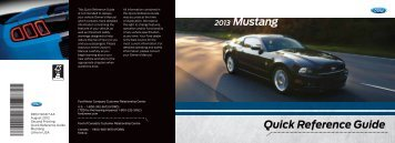 Ford Mustang 2013 - Quick Reference Guide Printing 2 (pdf)