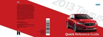 Ford Taurus 2013 - Quick Reference Guide Printing 1 (pdf)