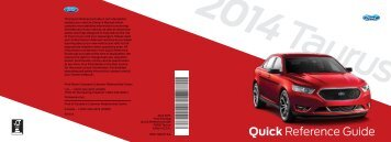 Ford Taurus 2014 - Quick Reference Guide Printing 1 (pdf)