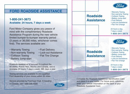 Ford Roadside Assistance Phone Number >> Ford Escape 2006 Roadside Assistance Card Printing 1 Pdf