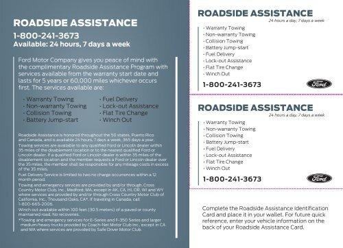 Ford Taurus 2014 Roadside Assistance Card Printing 2 Pdf