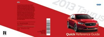 Ford Taurus 2013 - Quick Reference Guide Printing 2 (pdf)