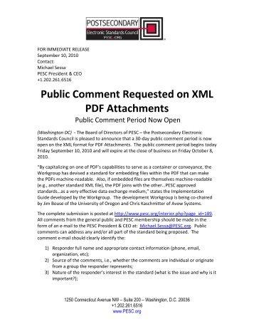 Public Comment Requested on XML PDF Attachments - PESC