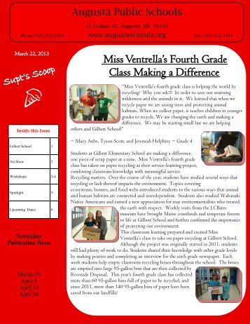 Miss Ventrella's Fourth Grade Class Making a Difference