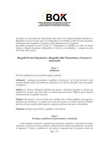 Rregulli 10 mbi Ndryshimin e Rregullës Mbi Themelimin e Forumit te ...
