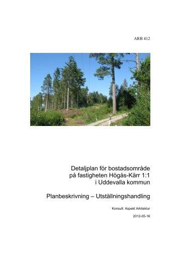 Detaljplan för bostadsområde på fastigheten Högås-Kärr 1:1 i ...
