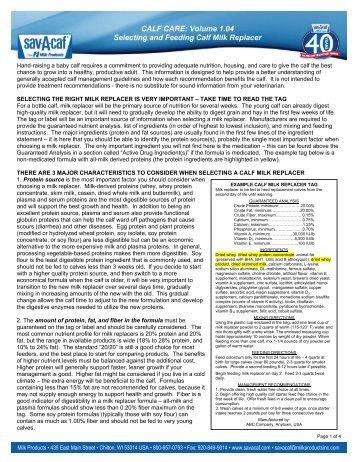 CALF CARE: Volume 1.04 Selecting and Feeding Calf Milk Replacer